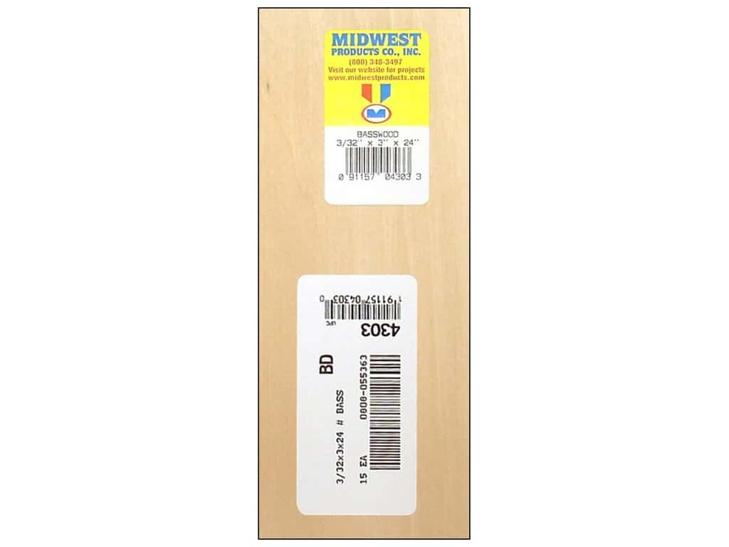 Midwest Basswood Sheet 3/32 x 3 x 24 in. (15 pieces)