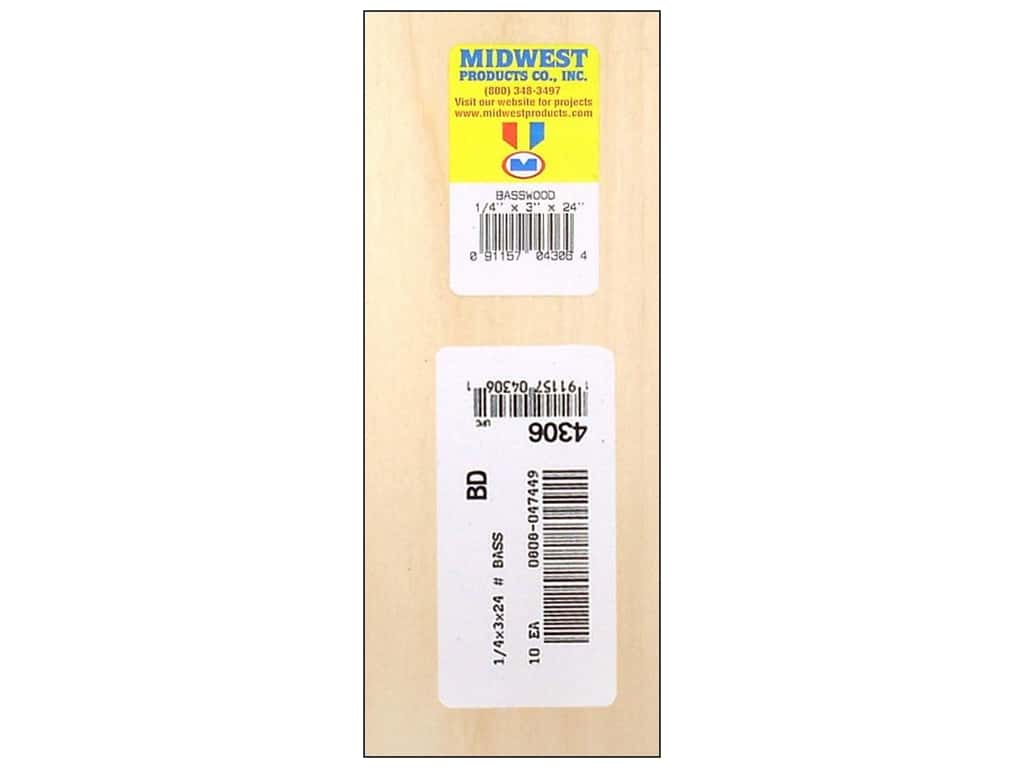 Midwest Basswood Sheet 1/4 x 3 x 24 in. (10 pieces)