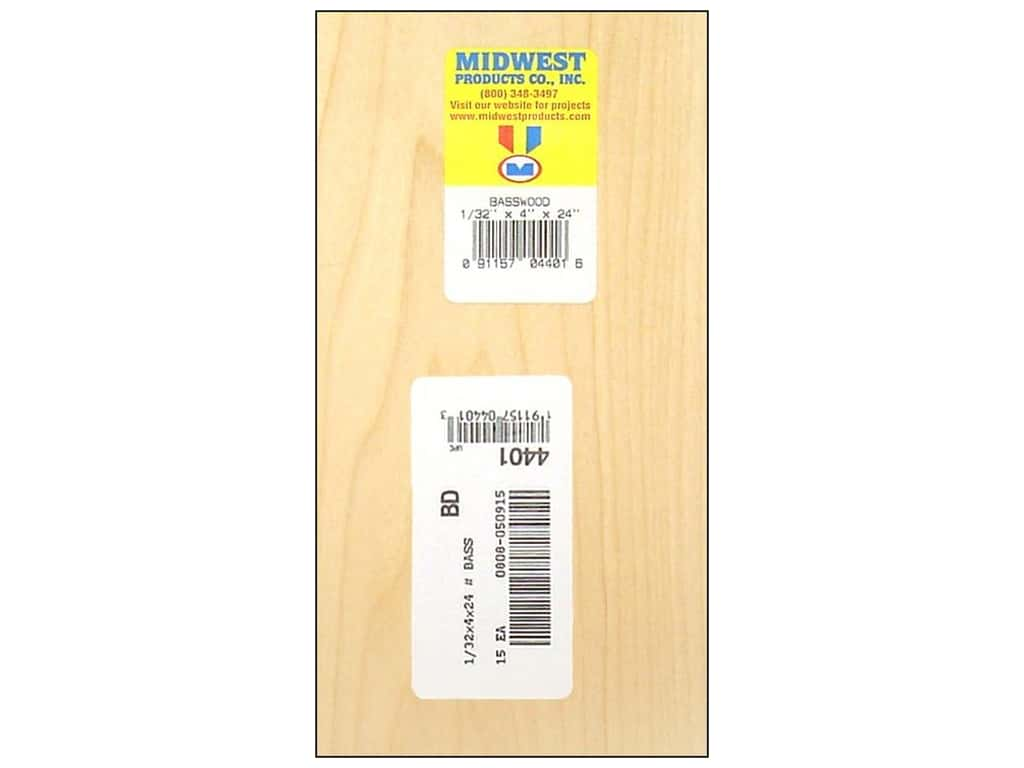 Midwest Basswood Sheet 1/32 x 4 x 24 in. (15 pieces)