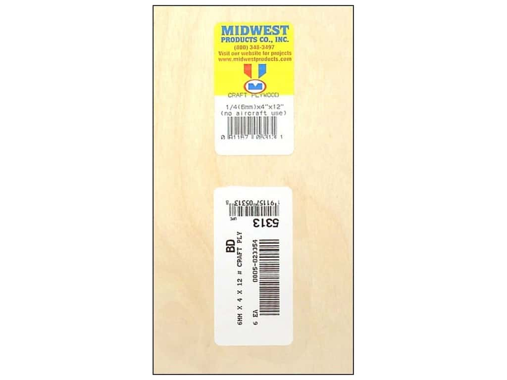 Midwest Craft Plywood 1/4 x 4 x 12 in. (6 pieces)