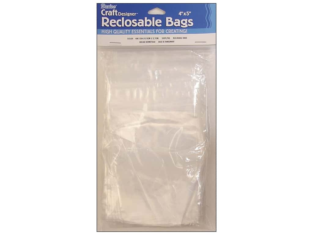 Darice Craft Designer Reclosable Storage Bags 4 x 5 in. 100 pc. Clear