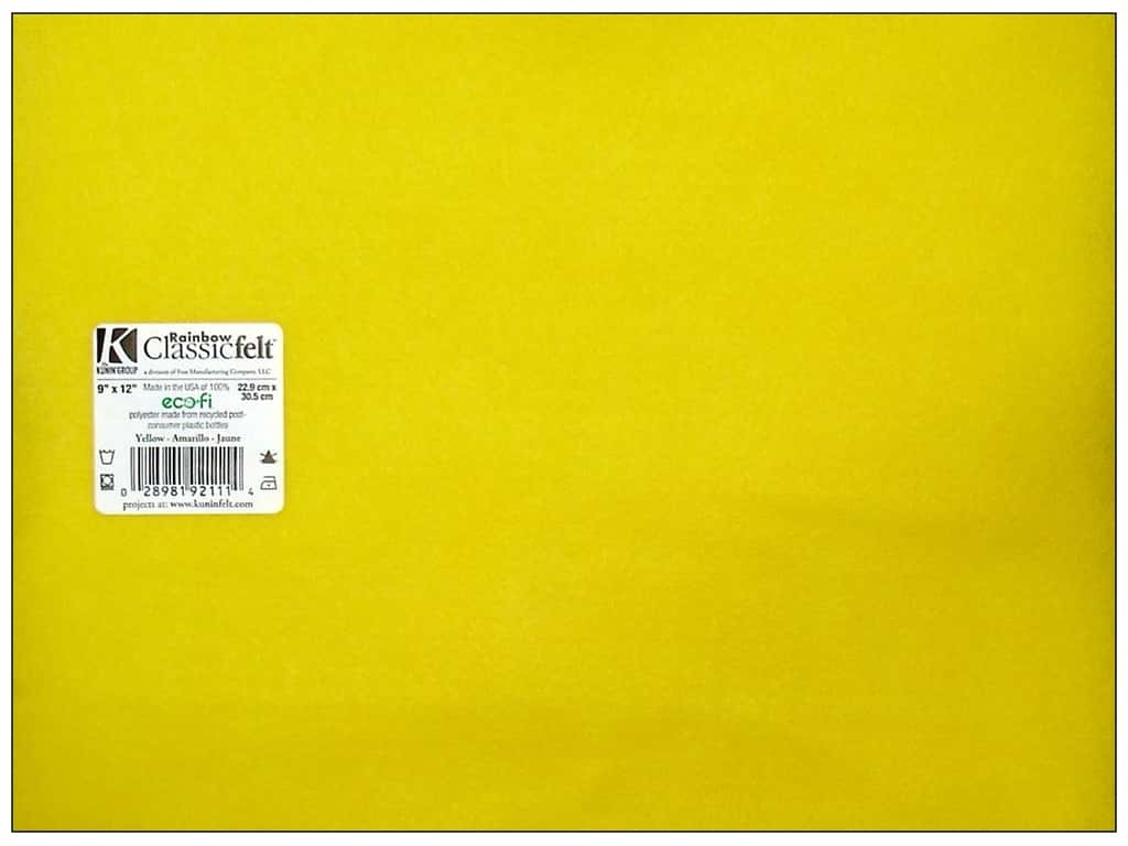 Kunin Felt 9 x 12 in. Yellow (24 sheets)