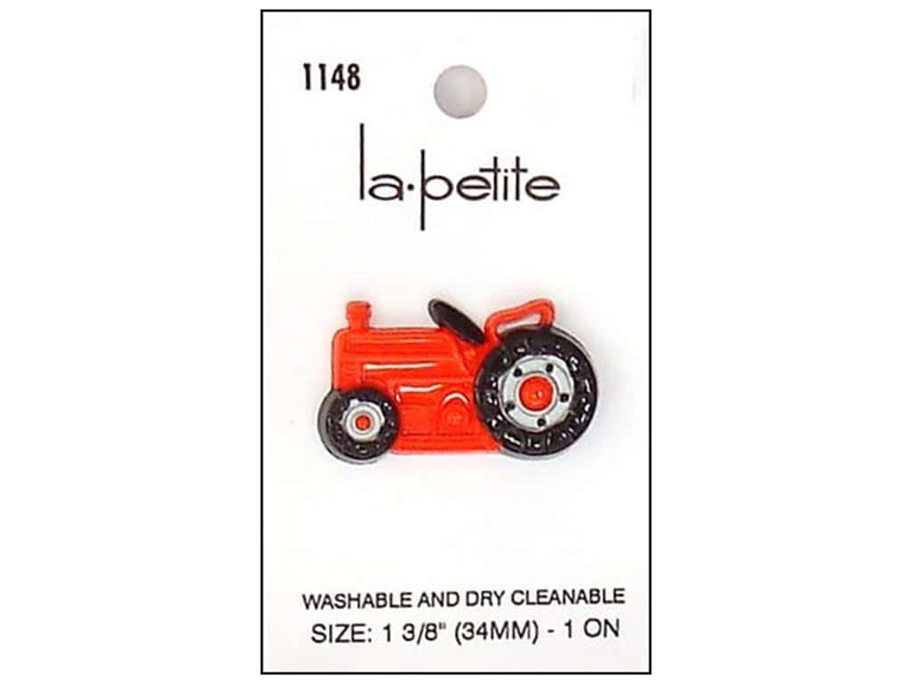 LaPetite Shank Buttons 1 3/8 in. Red/Black Tractor #1148 1pc.