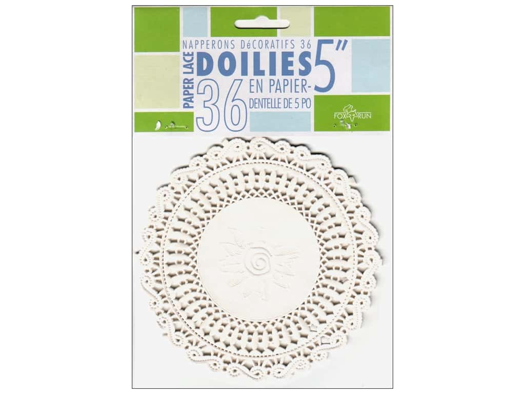 "Fox Run Paper Doily 5"" Round 36pc White"