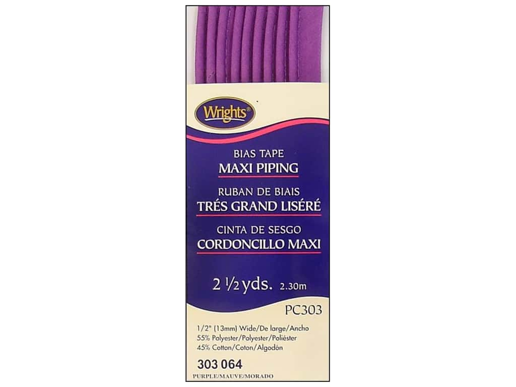 Wrights Bias Tape Maxi Piping Purple 2 1/2 yd.