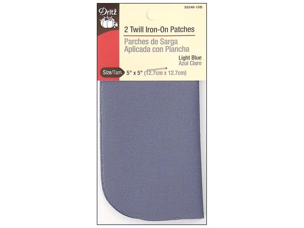 Dritz Twill Iron-On Patches - 5 x 5 in. Light Blue 2 pc.