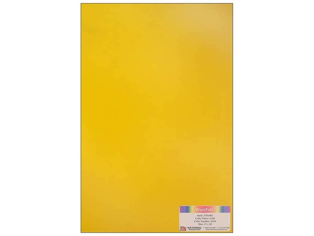 National Nonwovens 35% Wool Felt 12 x 18 in. Gold (10 sheets)