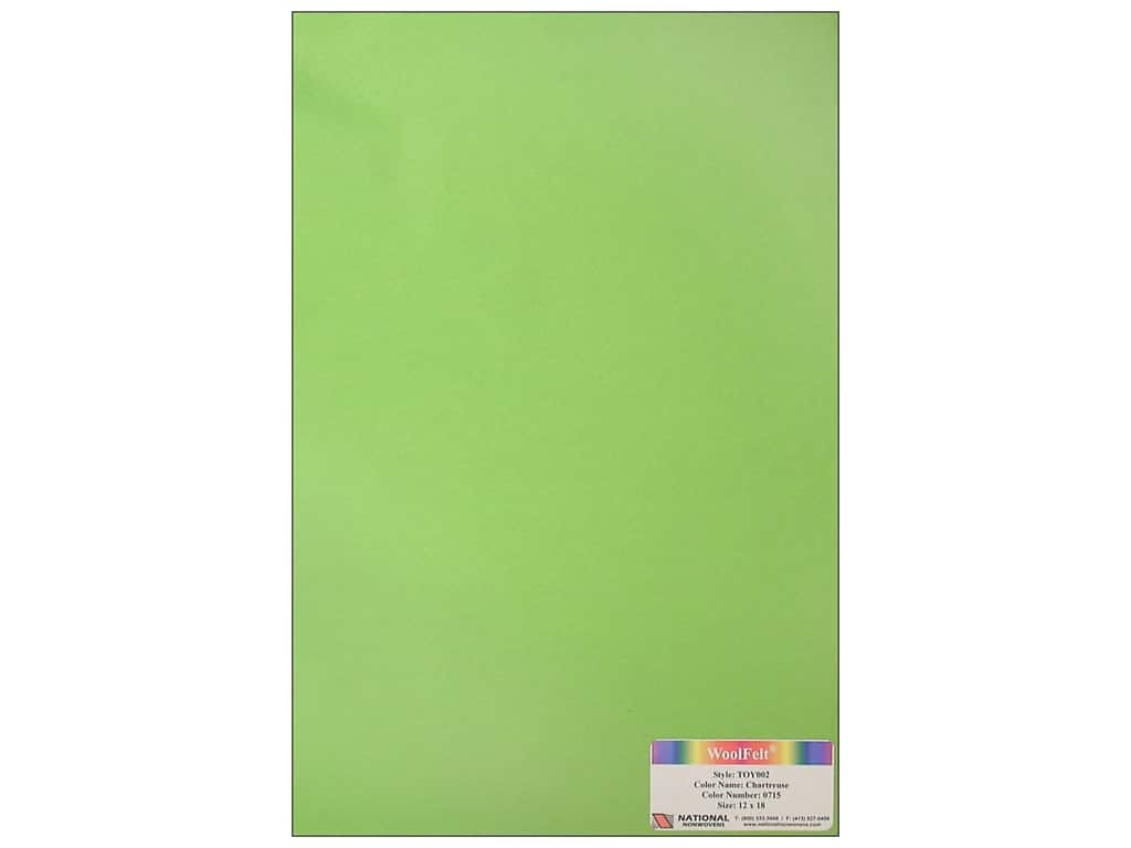 National Nonwovens 35% Wool Felt 12 x 18 in. Chartreuse (10 sheets)