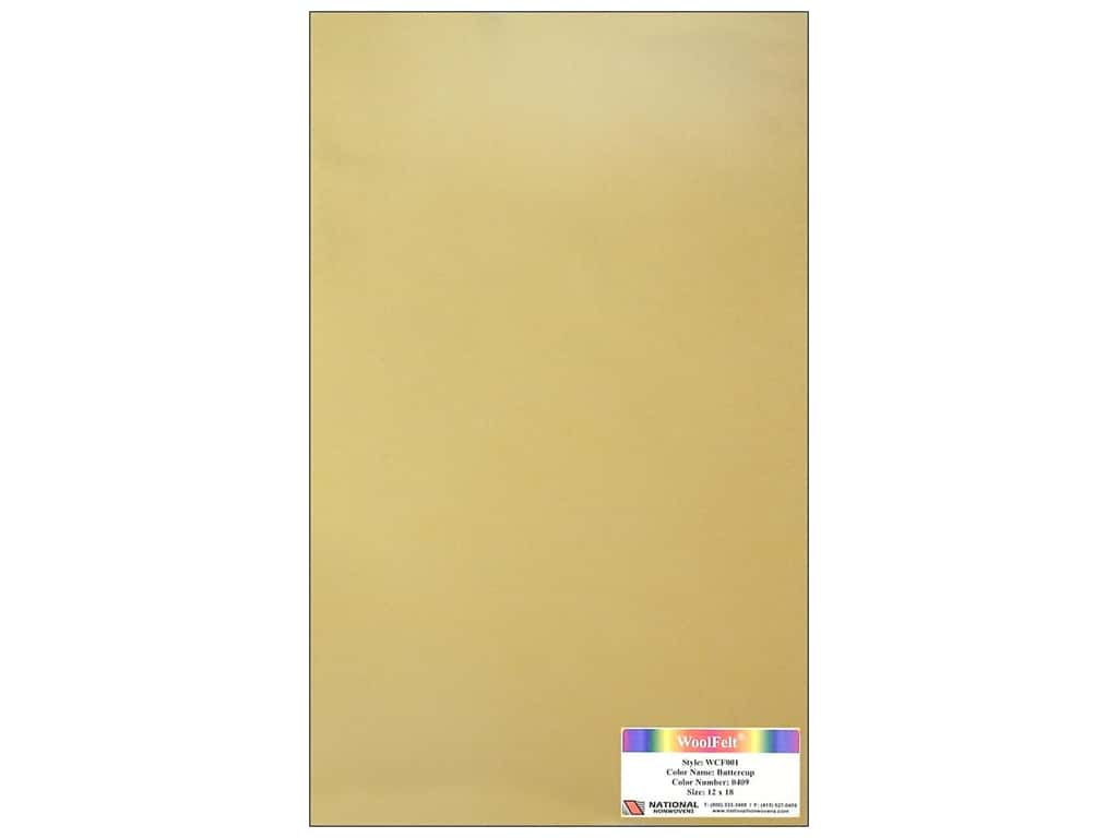 National Nonwovens 20% Wool Felt 12 x 18 in. Buttercup (10 sheets)