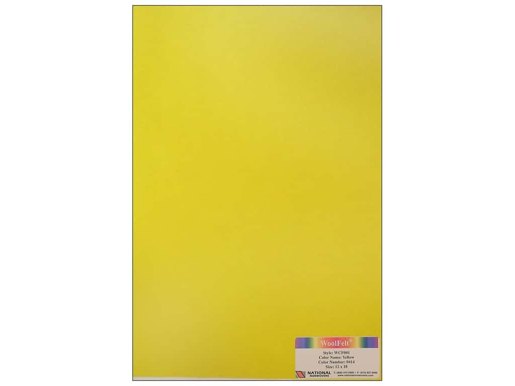 National Nonwovens 20% Wool Felt 12 x 18 in. Yellow (10 sheets)
