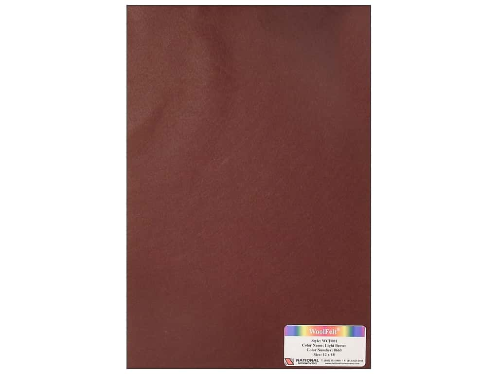 National Nonwovens 20% Wool Felt 12 x 18 in. Light Brown (10 sheets)