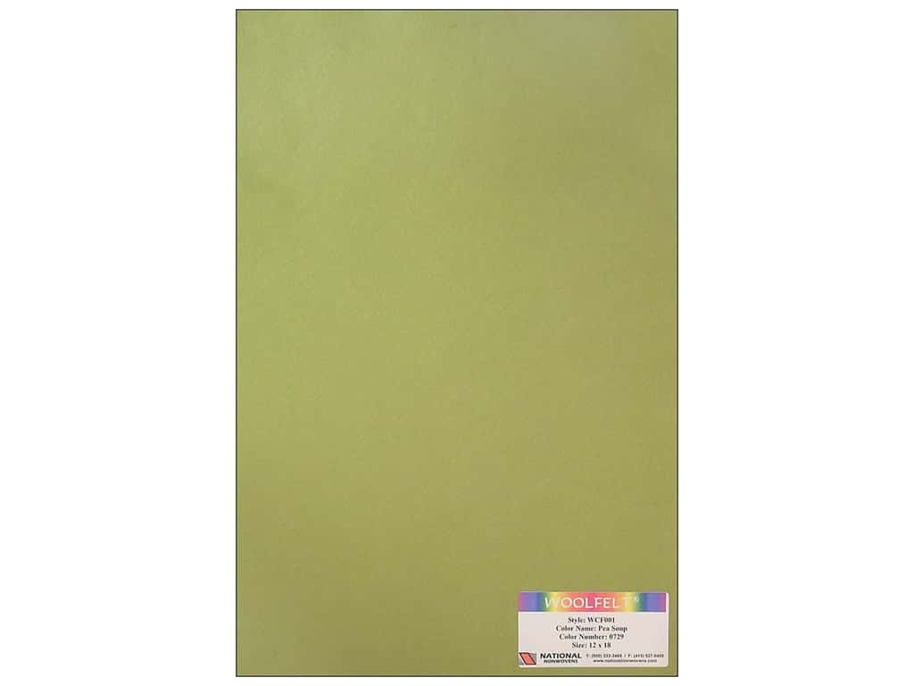 National Nonwovens 20% Wool Felt 12 x 18 in. Pea Soup (10 sheets)