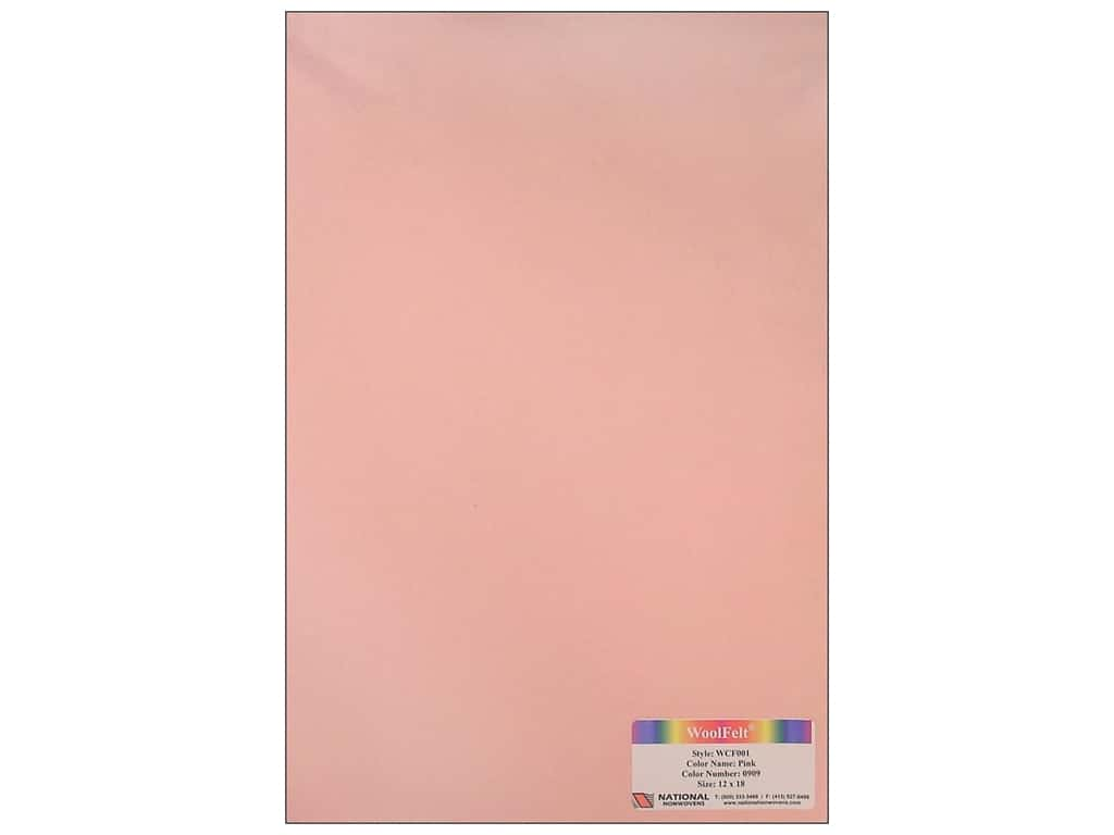 National Nonwovens 20% Wool Felt 12 x 18 in. Pink (10 sheets)