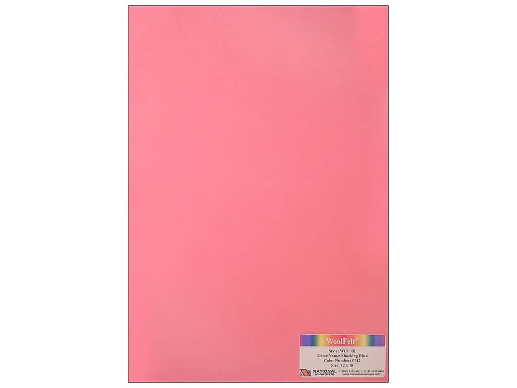 National Nonwovens 20% Wool Felt 12 x 18 in. Shocking Pink (10 sheets)