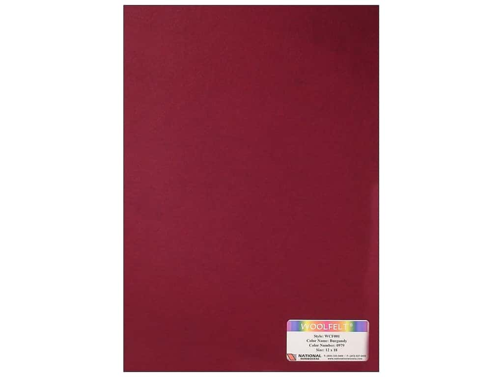 National Nonwovens 20% Wool Felt 12 x 18 in. Burgundy (10 sheets)
