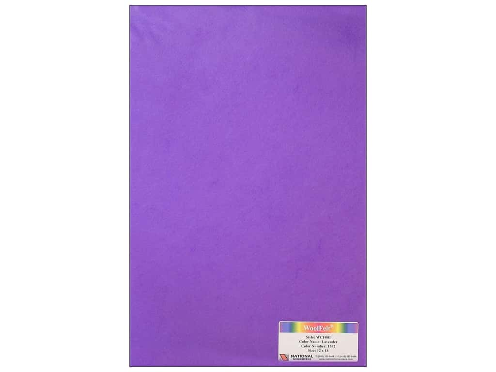 National Nonwovens 20% Wool Felt 12 x 18 in. Lavender (10 sheets)