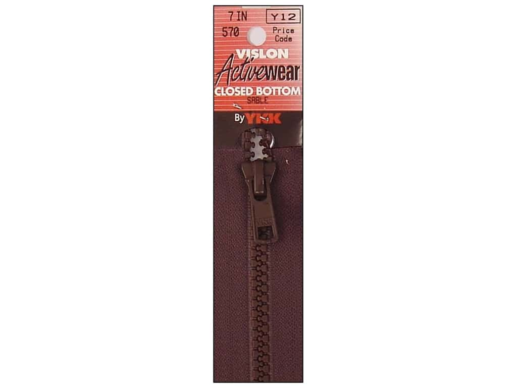 YKK Vislon Closed Bottom Zipper 7 in. Sable