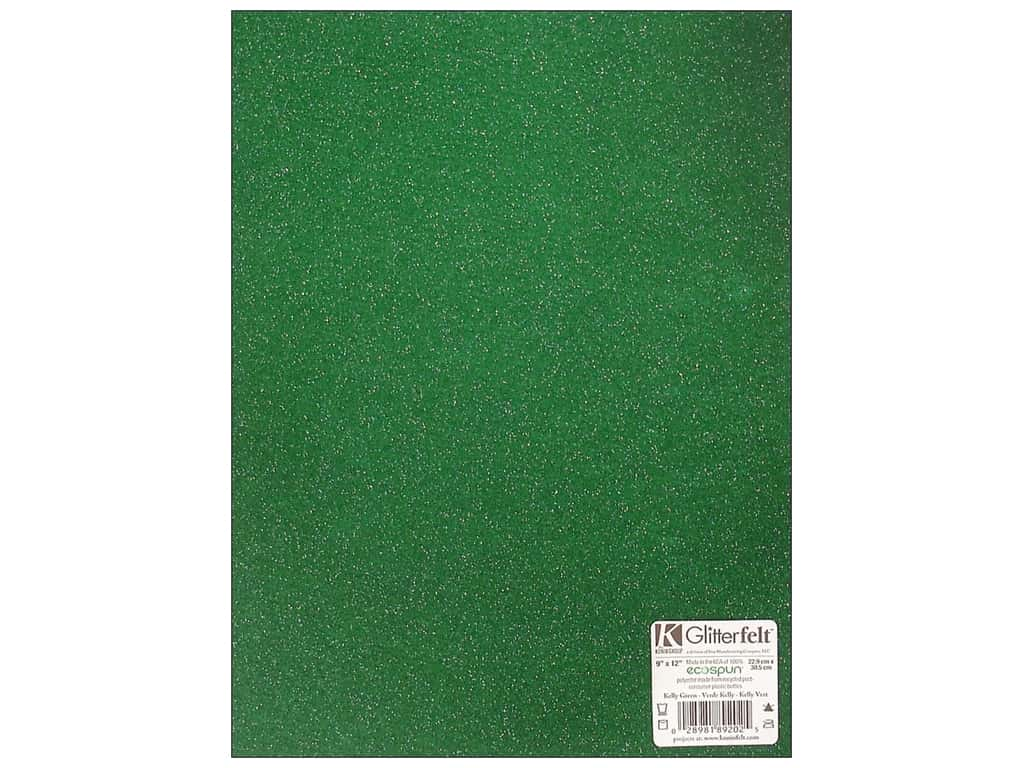 Kunin Felt 9 x 12 in. Glitter Kelly Green (24 sheets)