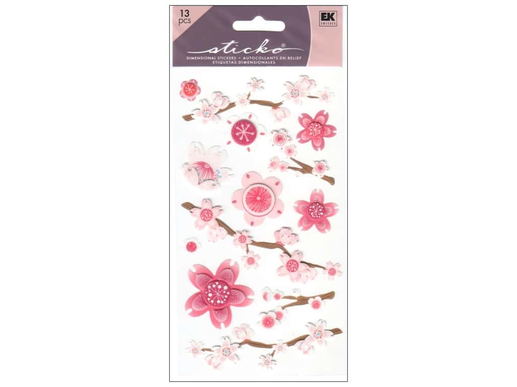 EK Sticko Stickers Vellum Cherry Blossoms