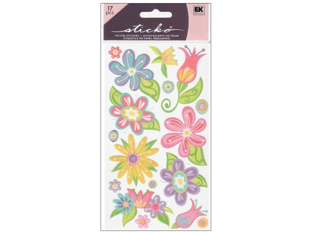 EK Sticko Stickers Small Fanciful Flowers