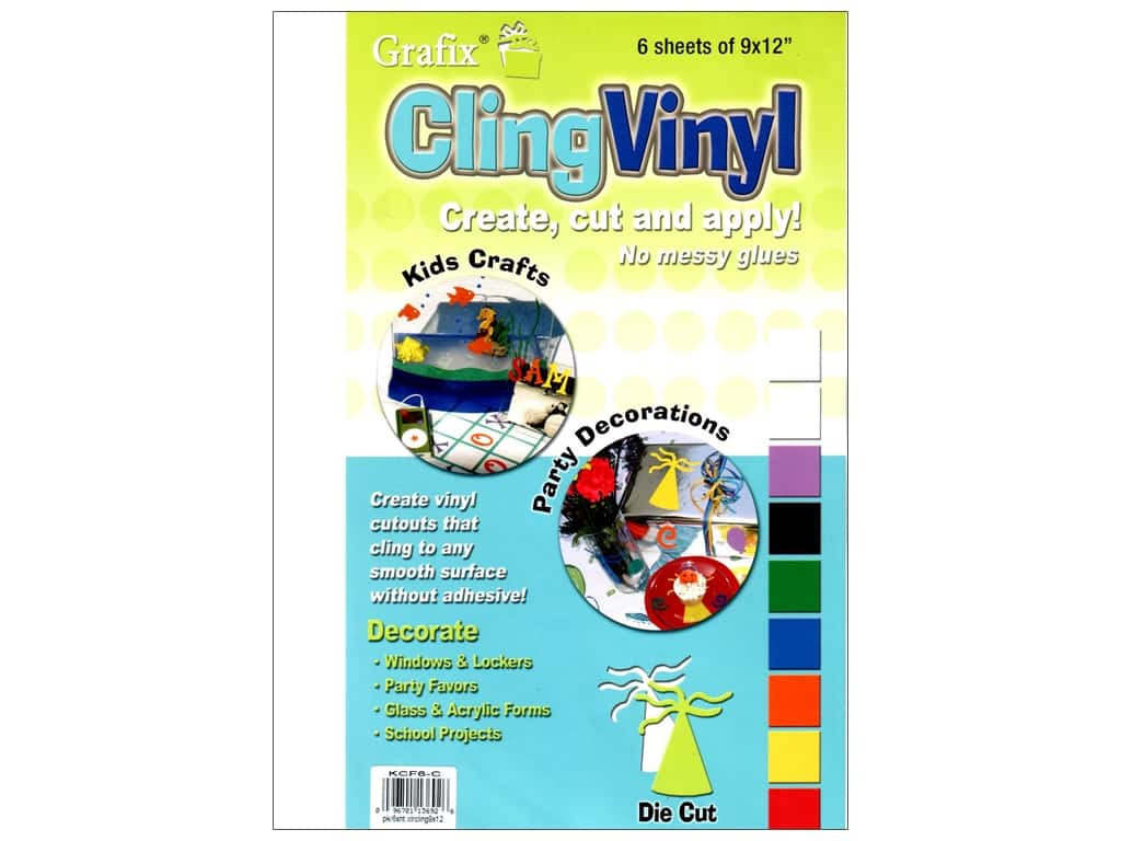 Grafix Cling Vinyl Sheet 9 in. x 12 in. Clear 6 pc
