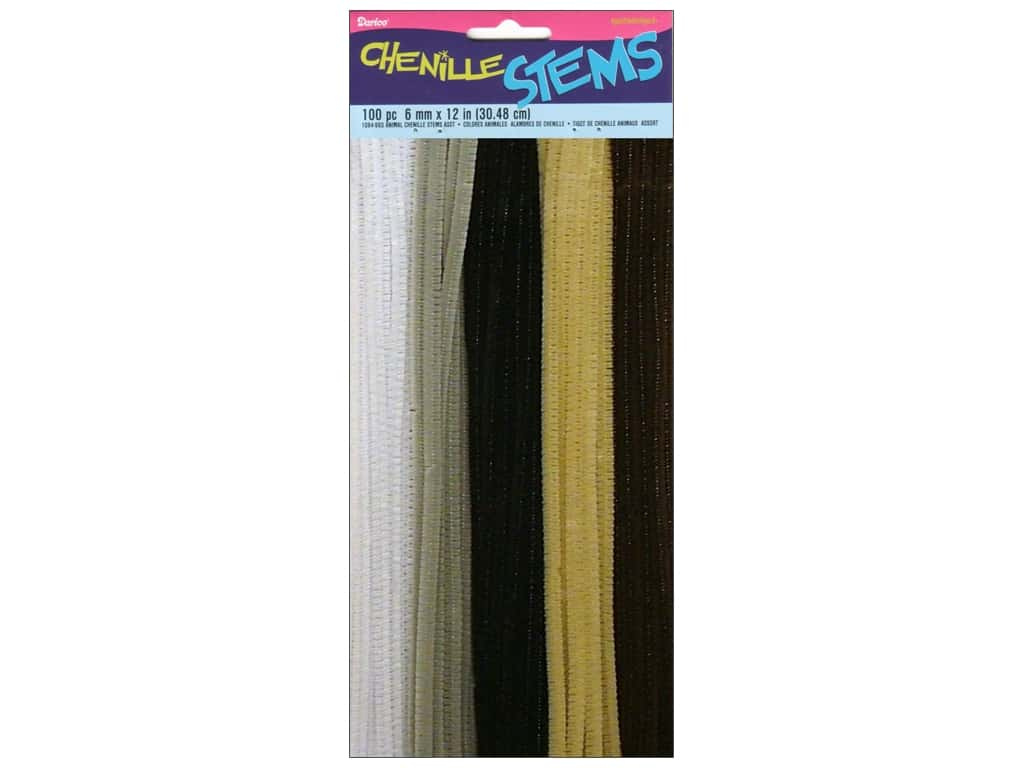 Darice Chenille Stems 6 mm x 12 in. Animal Assorted 100 pc.