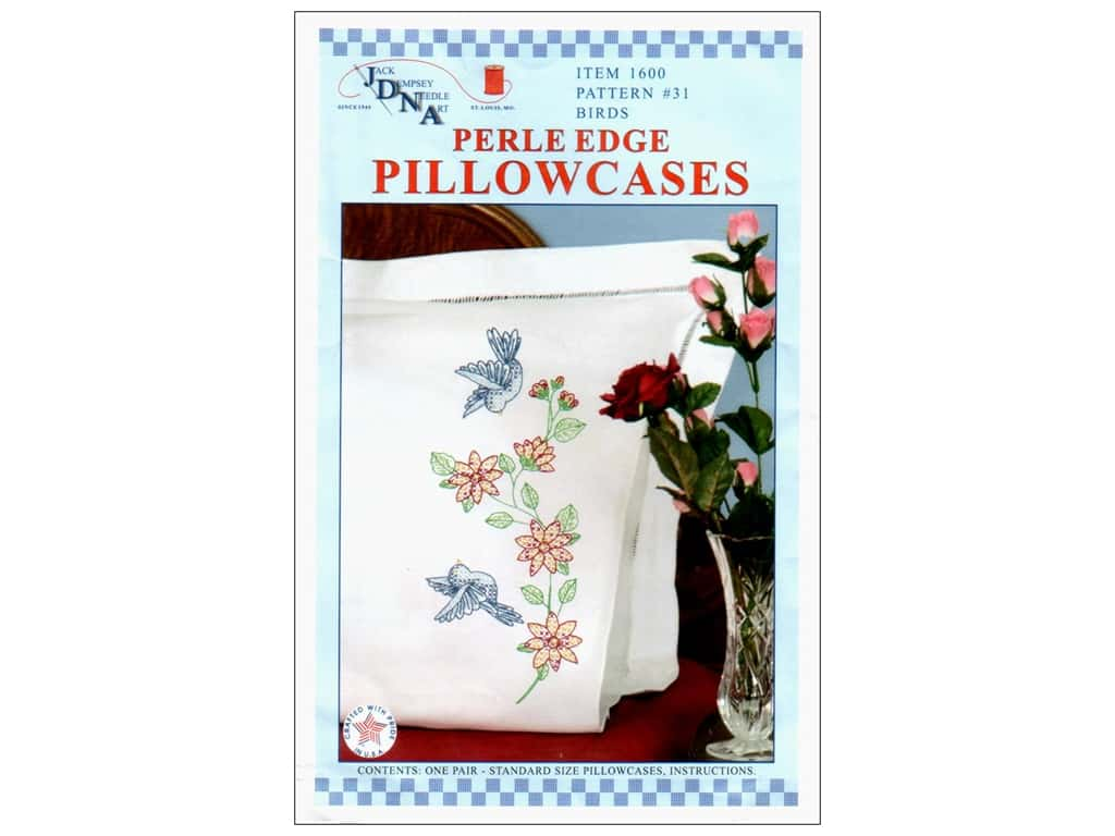 Jack Dempsey Pillowcase Perle Edge Birds