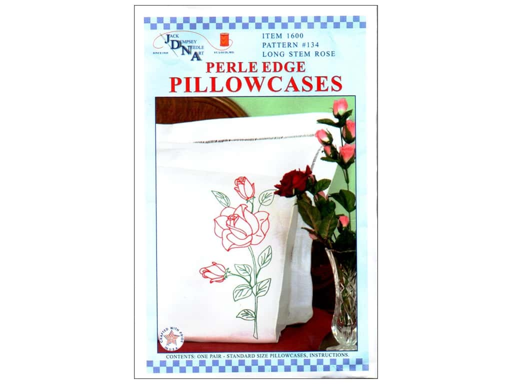 Jack Dempsey Pillowcase Perle Edge White Long Stemmed Rose