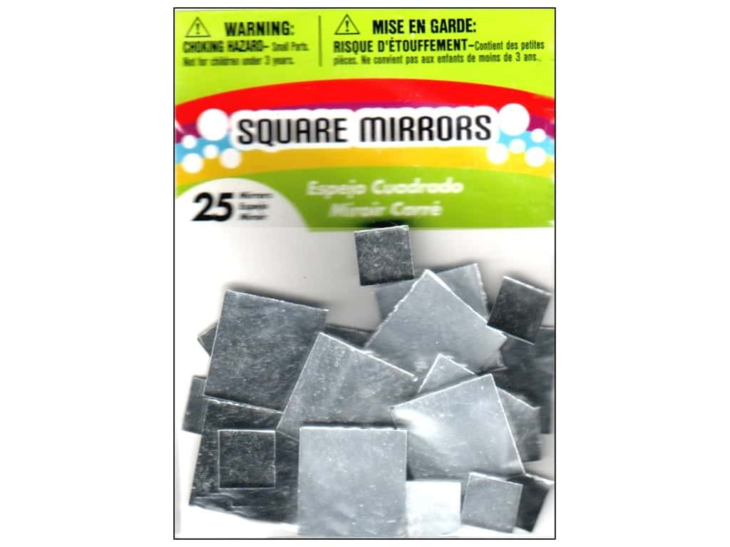 Darice Mirrors Big Value Square 1/2 to 1 in. Assorted 25 pc.