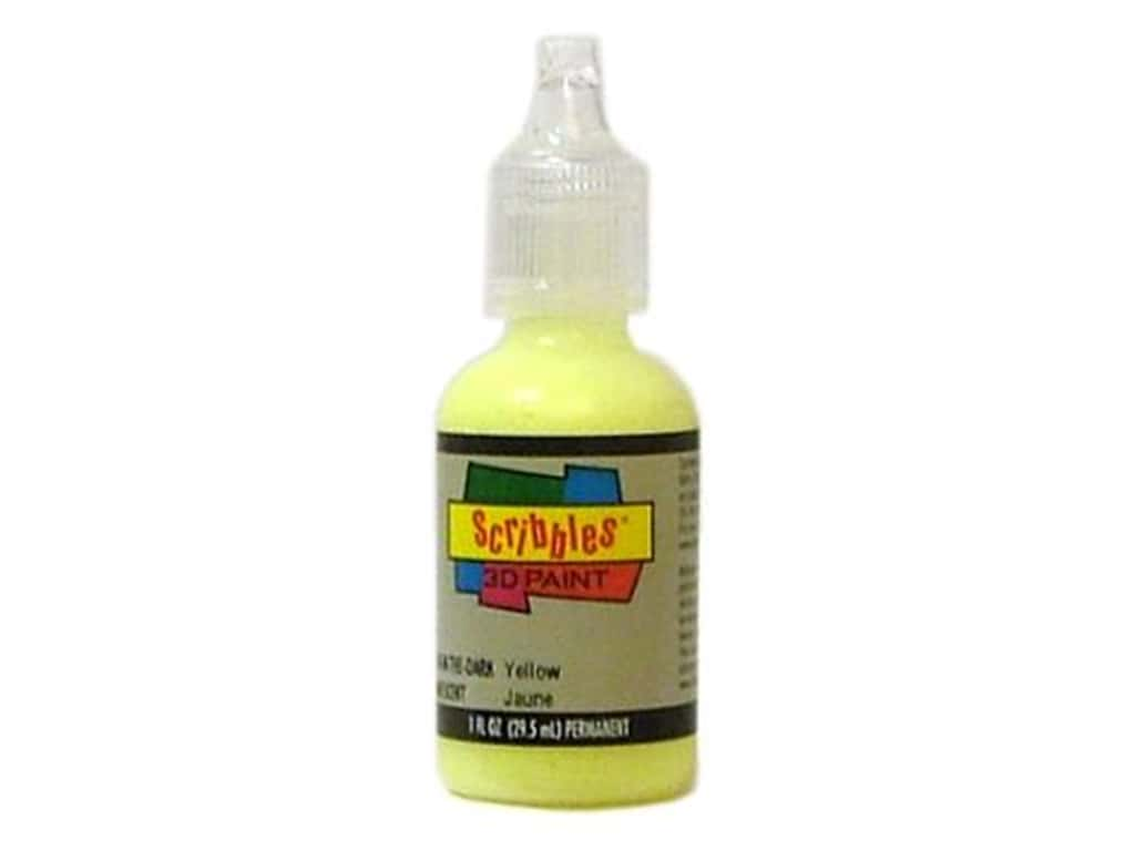 Scribbles 3D Fabric Paint 1 oz. Glow Yellow