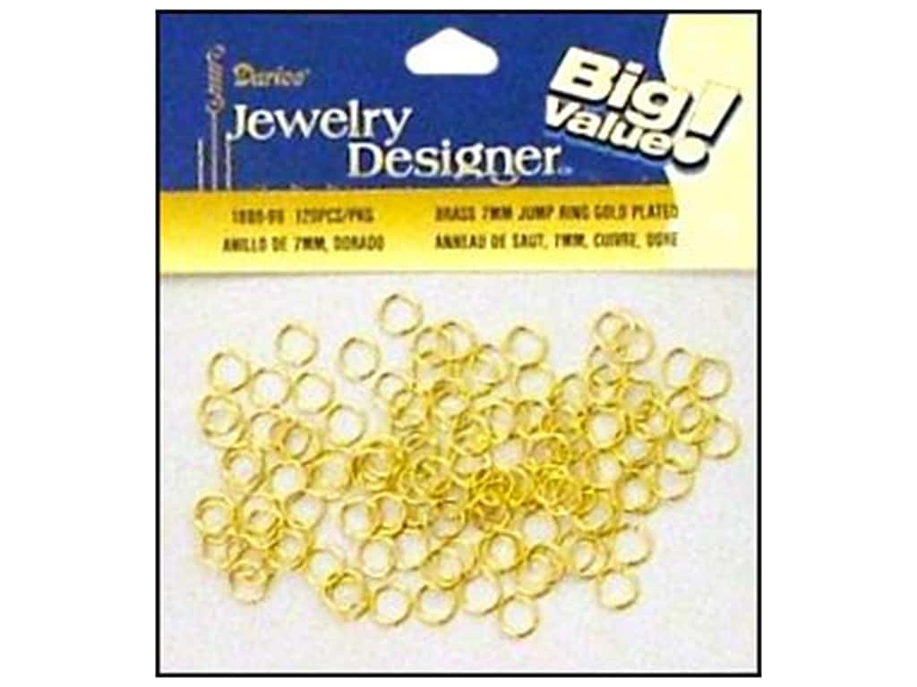 Darice Jewelry Designer Jump Rings 1/4 in. Gold Plate Brass 120 pc.