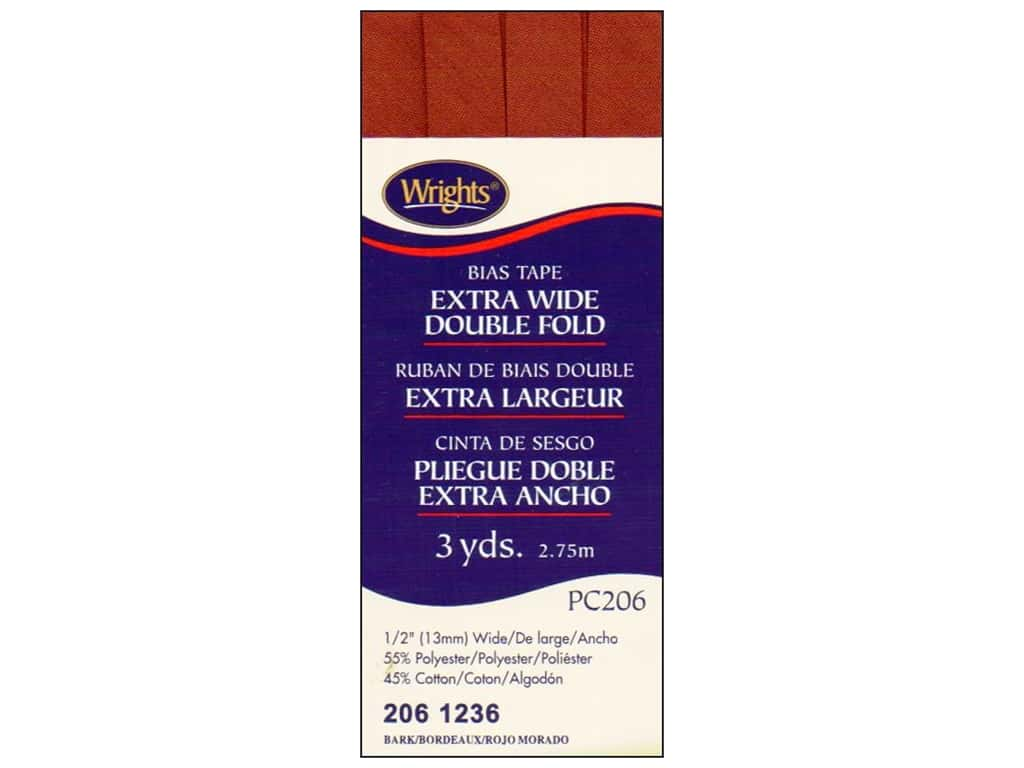 Wrights Extra Wide Double Fold Bias Tape 3 yd. Bark