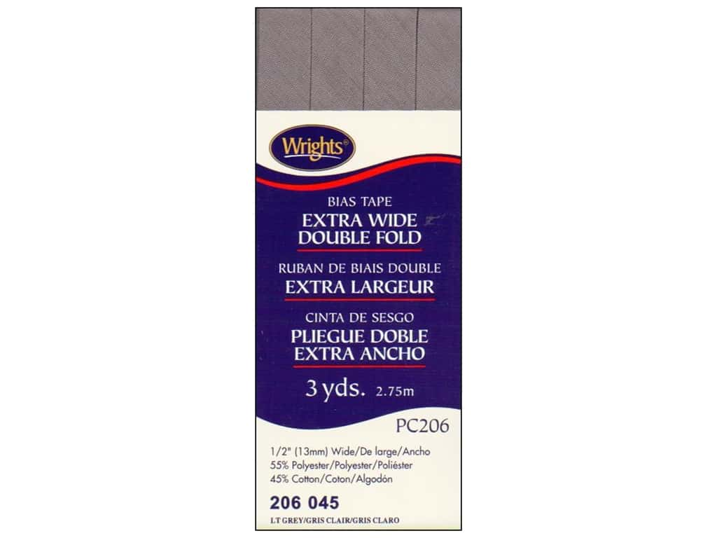 Wrights Extra Wide Double Fold Bias Tape 3 yd. Light Grey