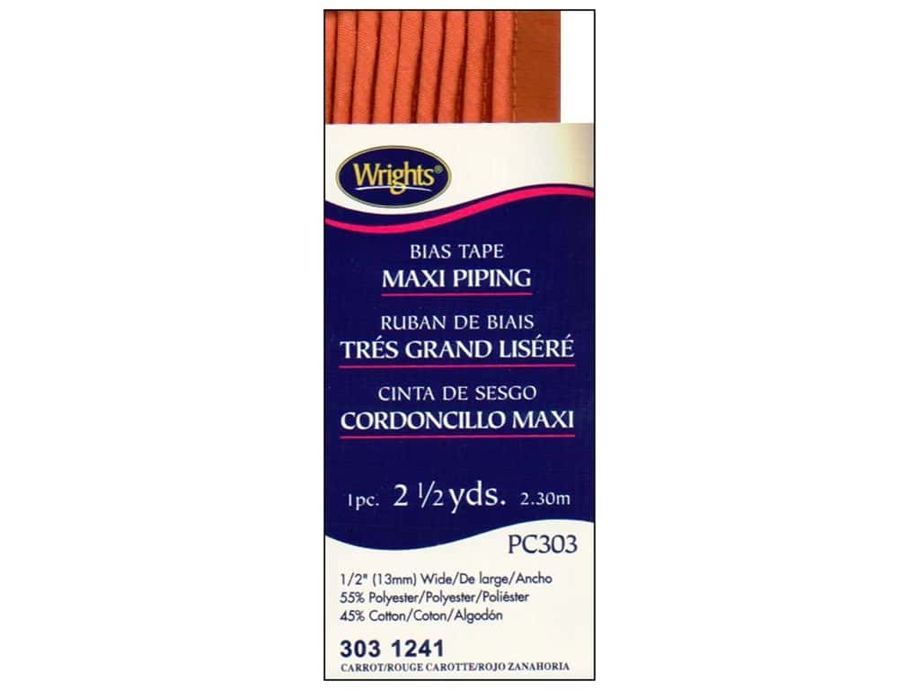 Wrights Bias Tape Maxi Piping Carrot 2 1/2 yd.