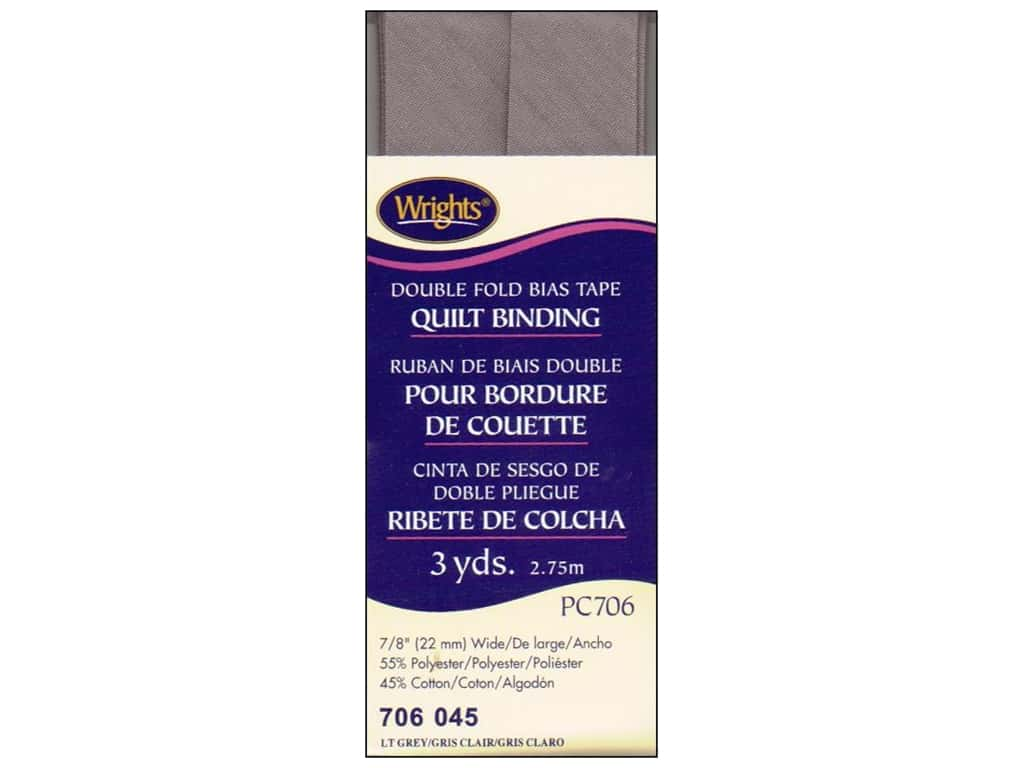 Wrights Double Fold Quilt Binding - Light Grey 3 yd.