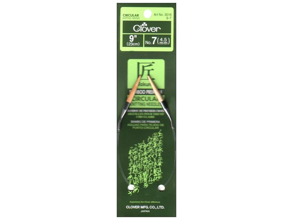 Clover Bamboo Circular Knitting Needles 9 in. Size 7 (4.5 mm)