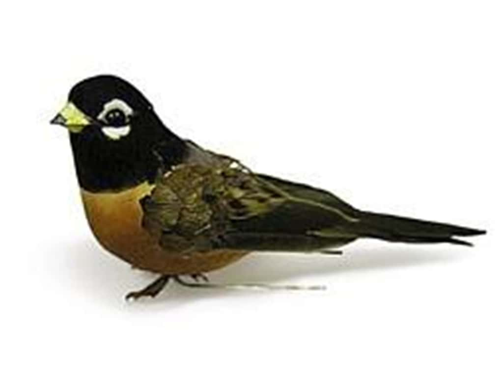 Midwest Design Artificial Birds 3 3/4 in. Feather Robin 1 pc.