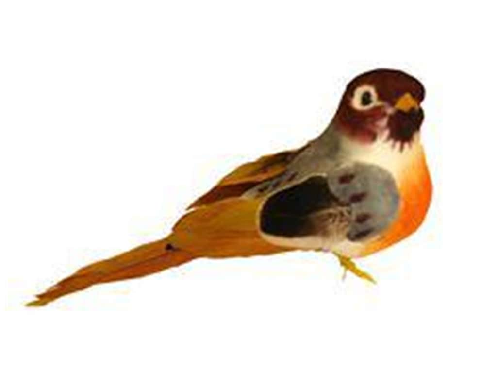 Midwest Design Artificial Birds 4 in. Feather Robin with Clip 1 pc.