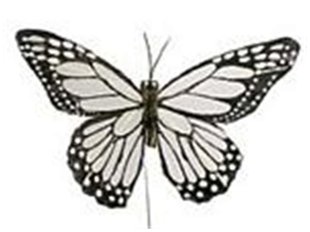 "Midwest Design Butterfly 5"" Feather Wire White/Black 1 pc"