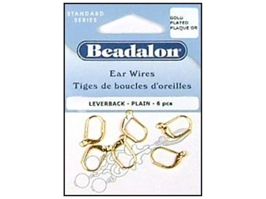 Beadalon Ear Wires Leverback 3 mm Gold Plated 6 pc.