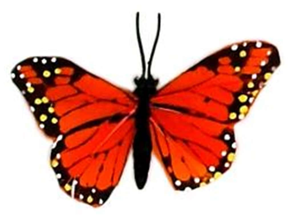 "Midwest Design Butterfly 3.25"" Feather Wire Monarch 1 pc"