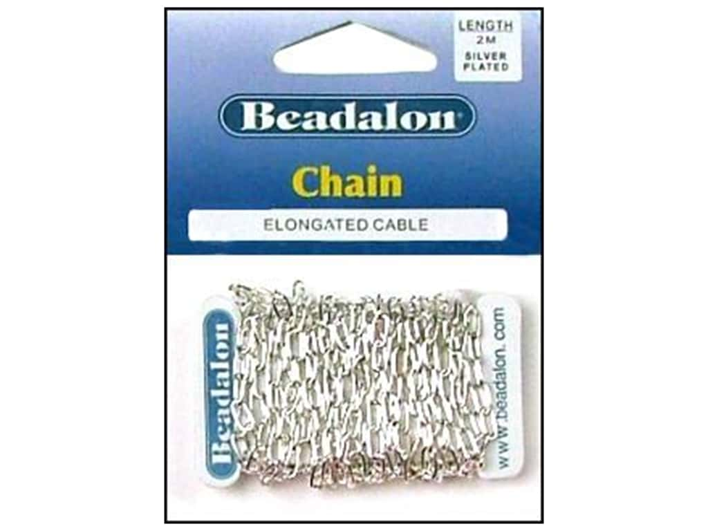 Beadalon Elongated Cable Chain 3.4 mm (.236 in.) Silver Plated 2 m (6.56 ft.)