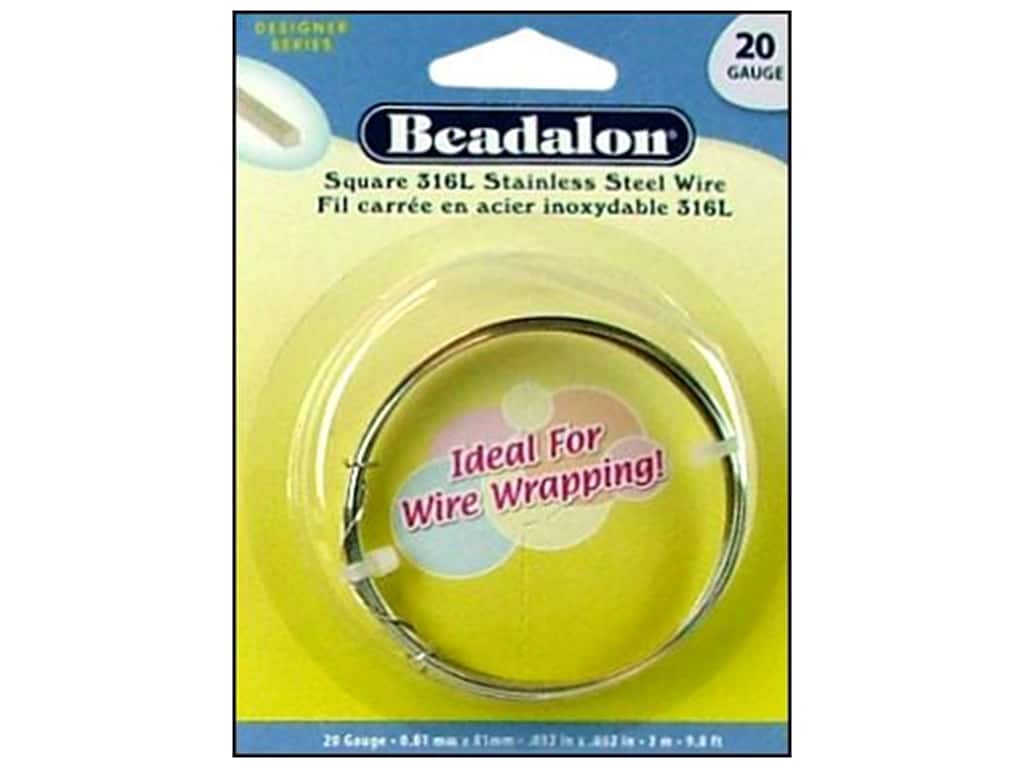 Beadalon 316L Stainless Steel Wrapping Wire 20 ga Square 9.8 ft.