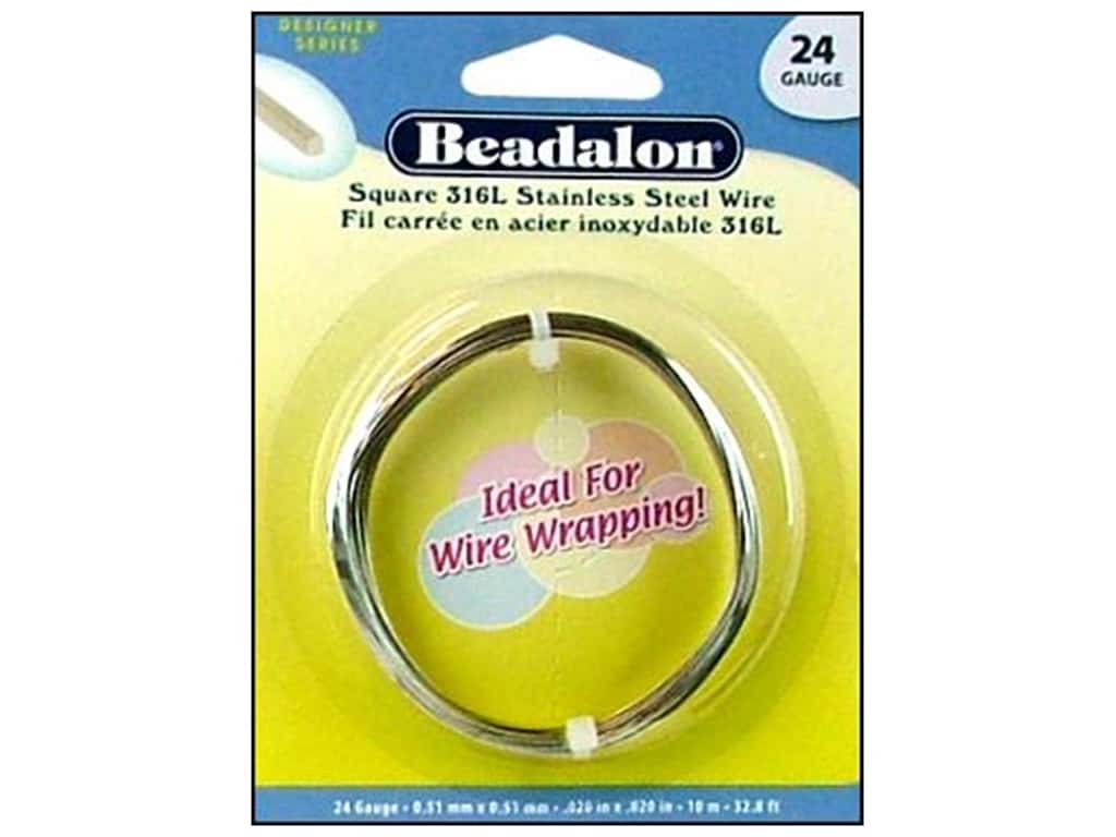 Beadalon 316L Stainless Steel Wrapping Wire Square 24 ga 32.8 ft.