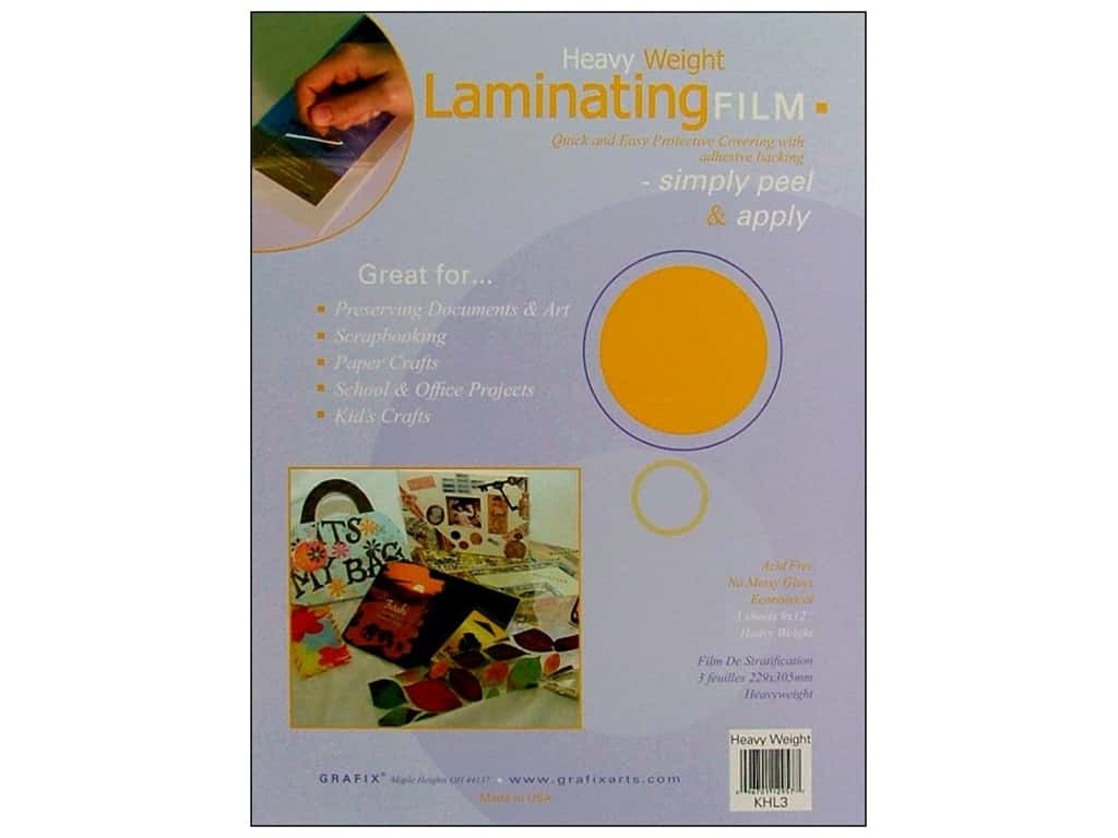 Grafix Laminating Film 9 in. x 12 in. Heavy Weight 3 pc