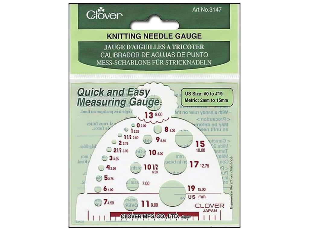 Clover Knitting Needle Gauge - Size 0 to 19