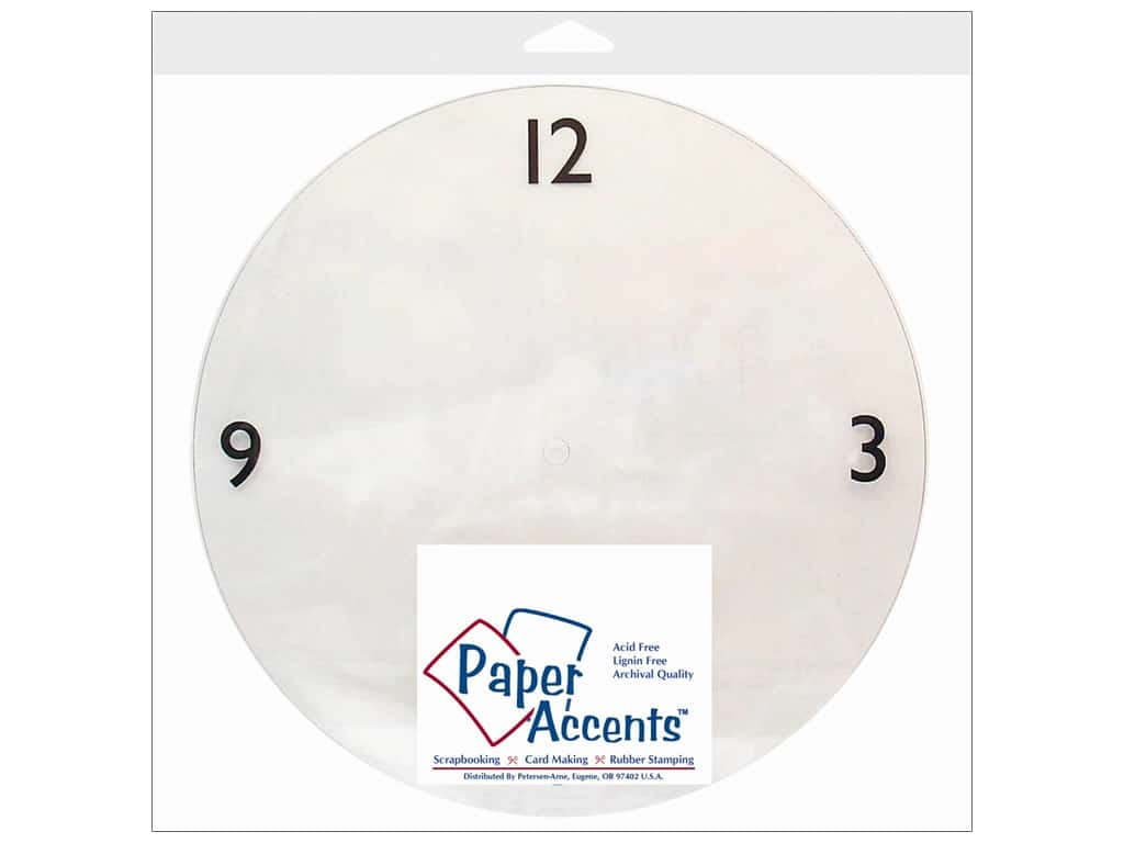 Paper Accents Clock Faces 10 5/8 in. 3-6-9-12 Clear Plastic 1 pc