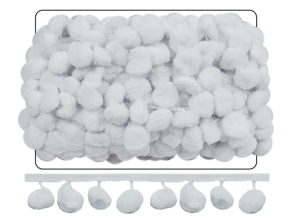 Cheep Trims Pom Fringe 1 1/2 in. x 18 yd. White (18 yards)