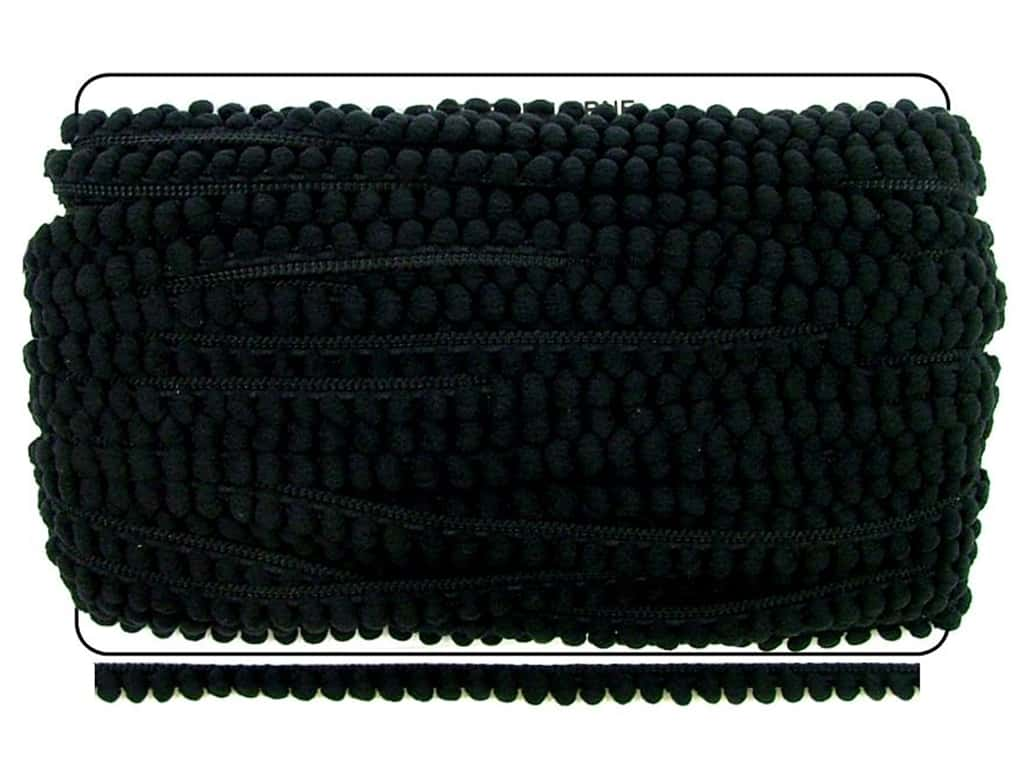 Pom Fringe by Cheep Trims 3/8 in. Black (36 yards)