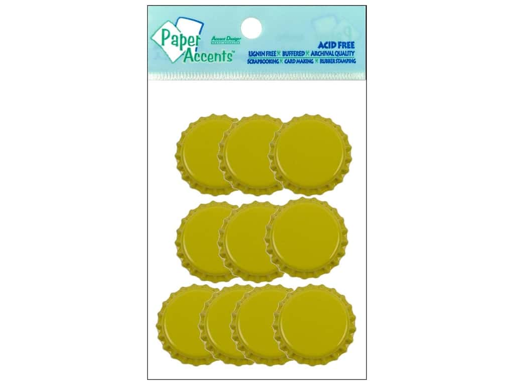 Paper Accents Bottle Caps 10 pc. Yellow